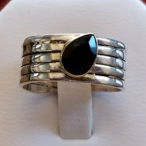 2ct two tone faceted Black Tourmaline Ring Size 7